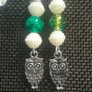 Pearl owl earring collection